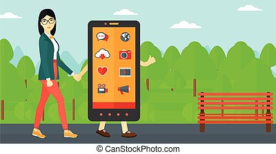 Woman walking with smartphone.