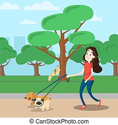Woman walking with two dog