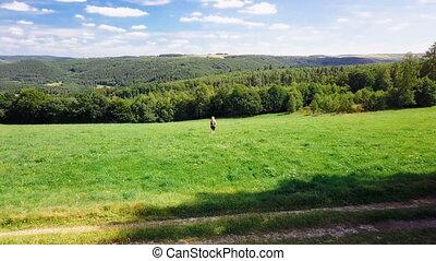 woman wander through beautiful landscape