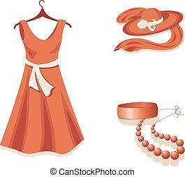 Woman wardrobe. - Dress, hat, shawl, bracelet and beads in...