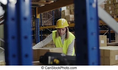 Woman warehouse worker loading boxes. - Young woman...