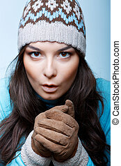 woman warm hands in gloves