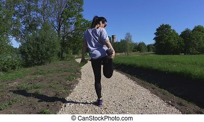 Woman warm up before running