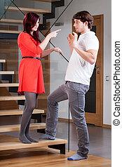 Woman warning her partner