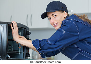 woman warranty technician