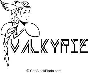 woman-warrior, geflügelt, valkyrie, helm