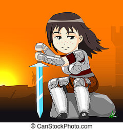 woman warrior on a horse vector