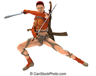 Woman warrior with swords - 3D rendered woman warrior with...