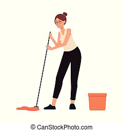 Woman washes floor with mop cartoon character flat vector illustration isolated.