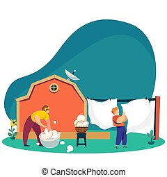 Woman washes laundry in backyard, countryside lifestyle, vector illustration