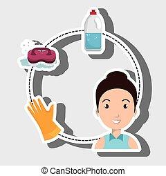 woman washing clothes hang gloves