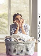 Woman washing clothes