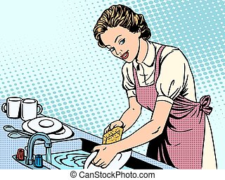 Woman washing dishes housewife housework comfort