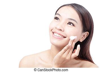 woman washing face for skin care - Beautiful woman washing...