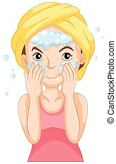 Woman washing face with foam