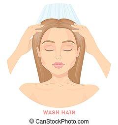 Woman washing hair. - Woman washing hair with water on white...