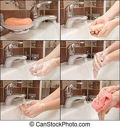 woman washing hand under running, Collage