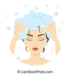 Woman washing her hair with shampoo in shower