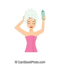 Woman Washing The Hair Home Spa Treatment Procedure