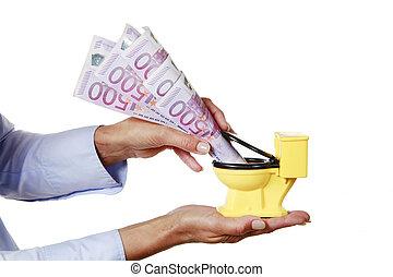 Woman waste cash money