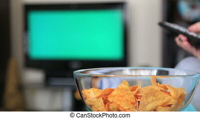 Woman Watching Chromakey TV