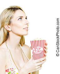Woman Watching Movie At Cinema