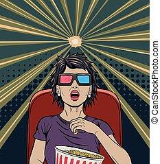 Woman Watching Movie Pop Art Poster - Beautiful Woman in ...