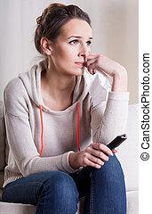 Woman watching romantic movie