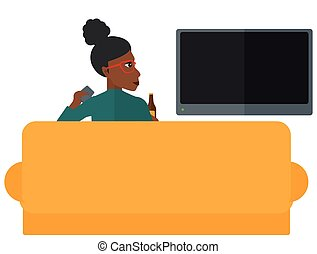 Woman watching TV.
