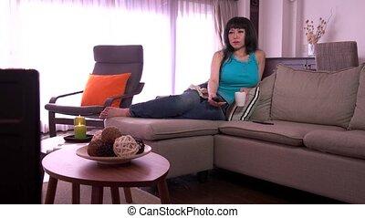 Woman Watching Tv Movie Film