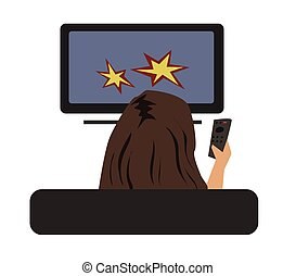Woman watching TV with remote control in hand, view from behind. Vector illustration, isolated on white.