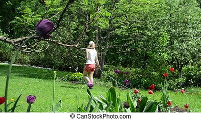 woman water flower