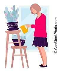 Woman watering flowers in pots, house chores vector