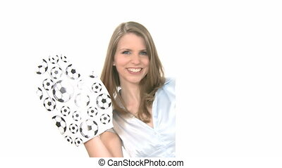 Attractive woman shows and waves big high five hand with copyspace. Background is highkey, therefore object can be moved or scaled for different size of copyspace.
