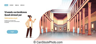woman wear digital glasses virtual reality classic historic museum art gallery hall with columns interior ancient exhibits and sculptures collection flat horizontal copy space