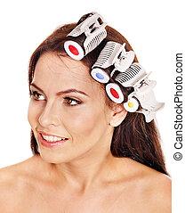 Woman wear hair curlers on head. - Happy beautiful woman...