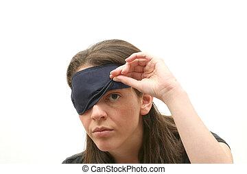 Woman wearing a blindfold - Business woman wearing a ...