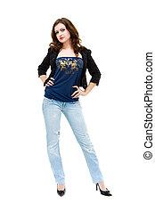 woman wearing a blue jeans posing
