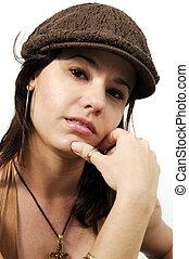 Woman wearing a cap