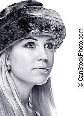 Woman wearing a fur hat