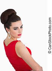 Woman wearing a glamorous dress