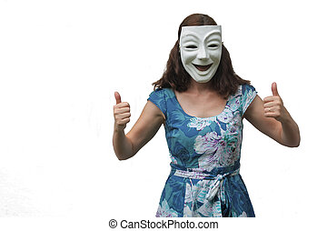 Woman wearing a happy face pointing thumbs up.