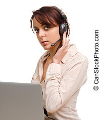 Woman wearing a headset listening to a call