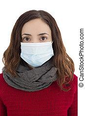 Woman wearing a virus mask