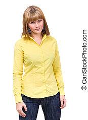 woman wearing a yellow shirt