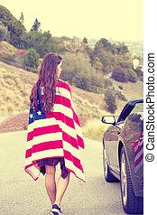 Woman wearing American Flag