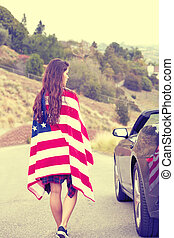 Woman wearing American Flag