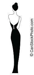 Woman wearing black dress isolated on white background
