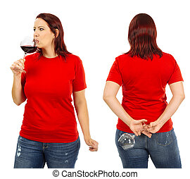 Woman wearing blank red shirt and drinking wine