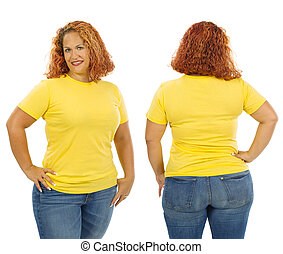 Woman wearing blank yellow shirt front and back